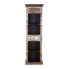 """Rustic Roman Reclaimed Wood 72"""" Tower Open Bookcase"""