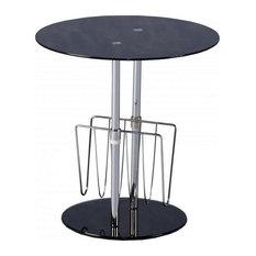 Mariella Magazine Table, Black Glass