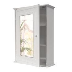 Tallula Mirror Door Bathroom Wall Cabinet, White