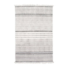 "Handmade Flatweave Textured Stripes Cotton Fringe Area Rug, Gray, 8'6""x11'6"""