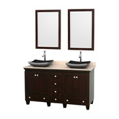 "60"" Double Bathroom Vanity, Ivory Marble Countertop, Sinks, 24"" Mirror"