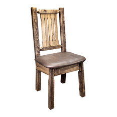 Side Chair, Stain and Clear Lacquer Finish, Upholstered Seat, Saddle Pattern