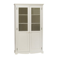 Windsor White Bookcase With Glass Doors