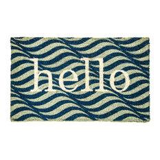 """Aspen Wave """"Hello"""" Doormat, Blue"""