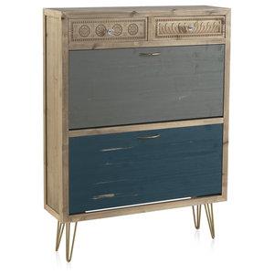 Textured Wooden Shoe Cabinet