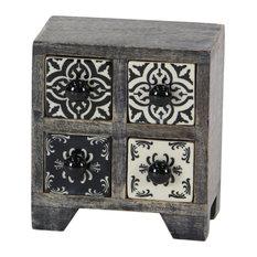 Traditional Square Black Lattice-Patterned 4-Drawer Ceramic Jewelry Box