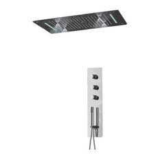 5-Function Shower Set, Thermostatic Mixer, LED Ceiling Shower Head
