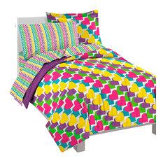 Rainbow Hearts Ultra Soft Microfiber Full Comforter Set