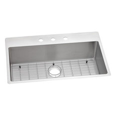 Elkay Crosstown Stainless Steel 1-Bowl Dual Mount Sink Kit, Faucet Holes: 3
