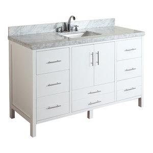 "California 60"" Bath Vanity, White, Carrara Marble, Single Vanity"