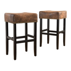 GDFStudio - Chantelle Studded Accent Leather Counter Stools, Set of 2, Multi-Brown - Bar Stools and Counter Stools