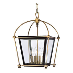 "Hollis, 12"" Pendant, Aged Brass Finish, Clear Glass Shade"