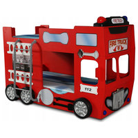 Fire Truck Kids Bunk Bed, Red