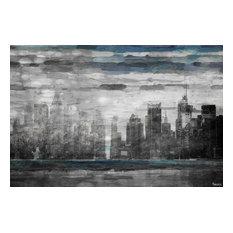 Blue Fog NYC Painting Print on Canvas, 90x60 cm