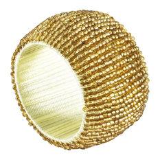 Hand Beaded Napkin Rings, Set of 4, Gold