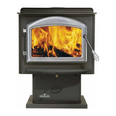 Huntsville Wood Stove w/ Pedestal, Satin Chrome Door