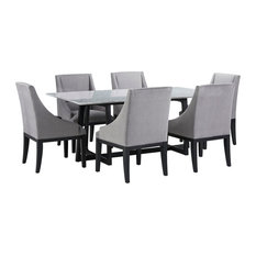 Clara Dining Table Marble Top Diana Wing Chairs 7-Piece Set Gray Velvet