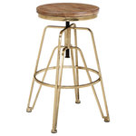 Linon Home Decor Products - Wood and Metal Adjustable Stool - The Adjustable Stool underlines your kitchen counter in hardworking style. This seat is crafted from iron with a round wood top that spins to easily adjust the height for comfort as you wine and dine. The 's simple, utilitarian design and gold metallic finish settle perfectly into your industrial or farmhouse space.