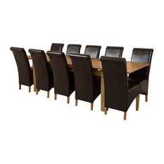 Richmond Oak Extending Table With 10 Montana Chairs, 200-280 cm, Brown