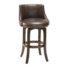 Napa Valley Swivel Counter Stool, Brown Leather, Dark Brown Cherry