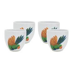 Lovebird Head Porcelain Coffee Cups, Set of 4