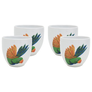 Lovebird Head Porcelain Coffee Cups, Set of 4