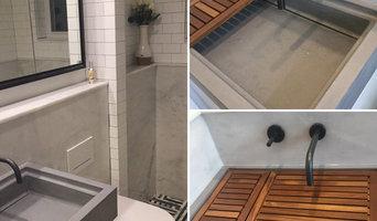 Slot Drain Concrete Sink w/Teak insert