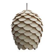 Wood Pine Cone Hanging 1-Light Pendant Lamp, Cord Set-Type A