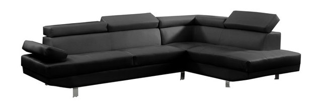 2 Piece Modern Faux Leather Sectional Sofa With Functional Armrest, Black