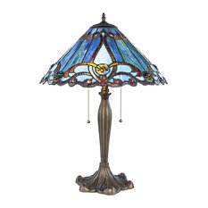 "25.5"" Tiffany Style Stained Glass Brandi Table Lamp, Blue"