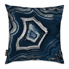 """Oliver Gal """"Dreaming About You Geode"""" Pillow, 18""""x18"""", Navy"""