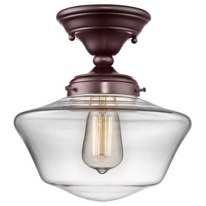 10-Inch Bronze Clear Glass Schoolhouse Ceiling Light