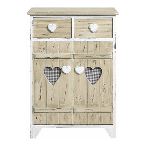 Traditional Storage Cabinet, Natural Ash Wood With 2-Drawer and 2-Door