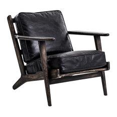 Landon Mid-Century Modern Brooks Leather Lounge Chair