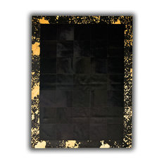 Black Cowhide Rug With Gold Border, 120x180 cm