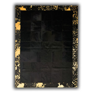 Black Cowhide Rug With Gold Border, 200x300 cm