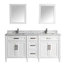 """Vanity Art Vanity Set With Carrara Marble Top, White, 72"""""""