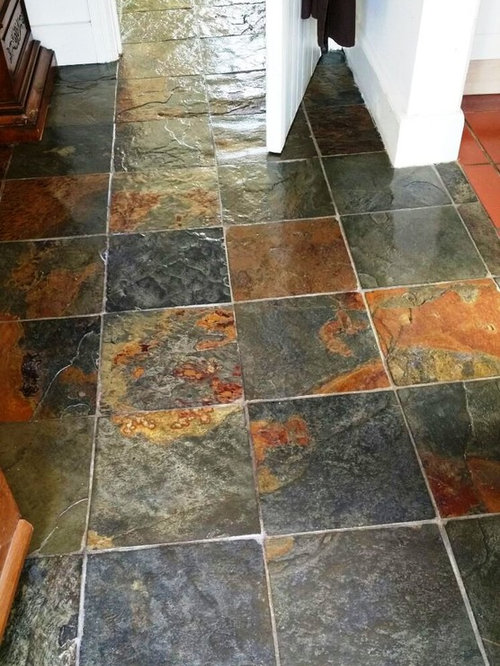 Cleaning And Sealing Rough Chinese Slate Floor Tiles In Dorchester - Rejuvenate slate floor