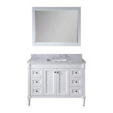 "Tiffany 48"" Single Bathroom Vanity,White,Marble Top,Square Sink,Mirror"