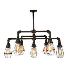 Black Steel 7-Light Chandelier With Wire Cages