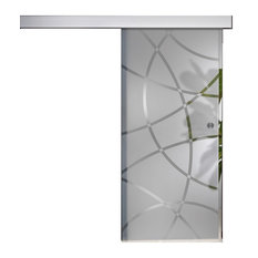 """Sliding Glass Barn Door With Frosting Design, 36""""x84"""""""