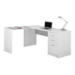 Corner Computer Desk With Tempered Glass, White