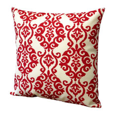 """Red Polyester 18 x 18"""" Damask Jewel Pattern Outdoor Throw Pillow, Set Of 2"""