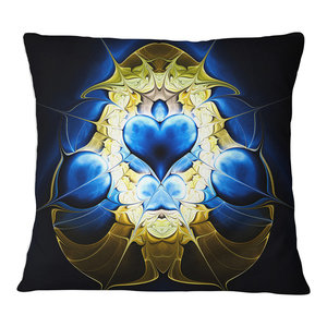 Sofa Throw Pillow 26 in in Designart CU12072-26-26 Large Golden Symmetrical Fractal Heart Abstract Cushion Cover for Living Room x 26 in