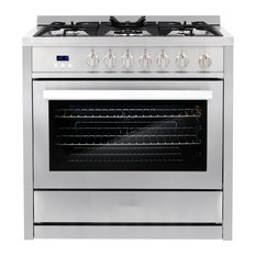 Orsen Gas Range 5 Burners Modern Stainless Steel Convection Oven Professional
