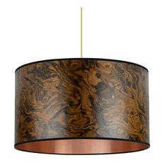 Dark Burl Wood Veneer Pendant Light, 40 cm
