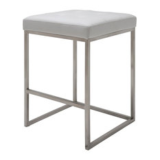 """Chi Counter Stool,  25.75"""" , Brushed Stainless Steel Frame, White"""