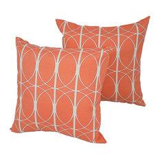 "17"" Outdoor Throw Pillows, Set of 2, Orange Circles"