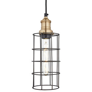 Brooklyn Wire Cage Pendant - 5 Inch - Pewter - Cylinder, Brass