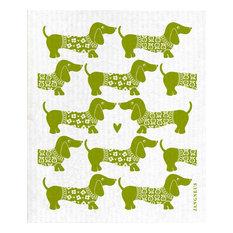 Swedish Dishcloth/Sponge Cloth - Jangneus Dachshund Dog Design, Green